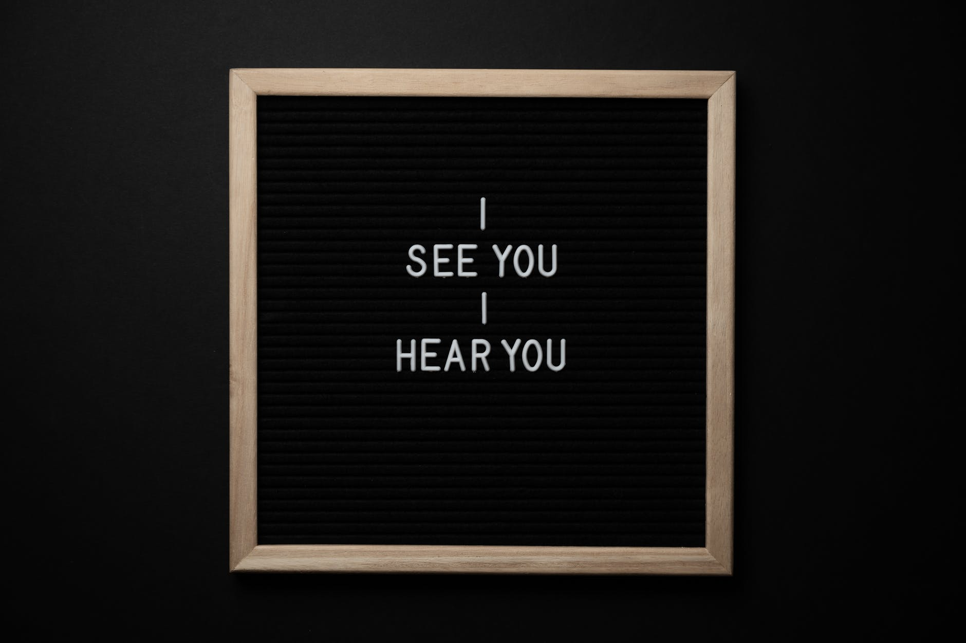 chalkboard with i see you i hear you titles